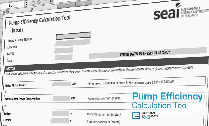 Pump Efficiency Calculation Tool (MS Excel Spreadsheet)
