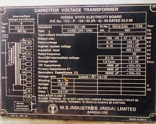 Capacitive Voltage Transformers Cvt For Hv Measurements