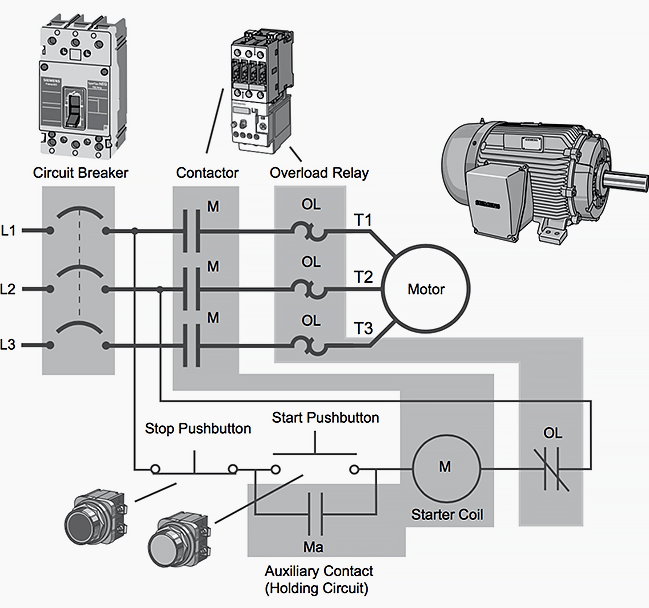motor starter wiring diagram basic plc program for control of a three phase ac motor basic electric motor wiring at reclaimingppi.co