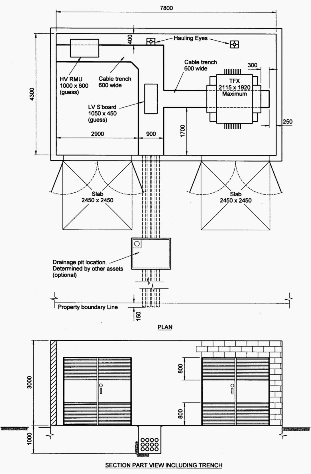 Indoor distribution substation layout with 1 transformer and EMF containment
