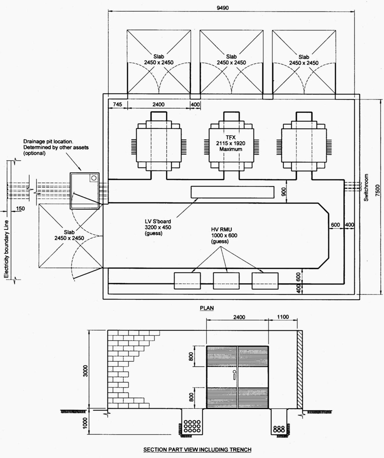 Indoor distribution substation layout with 3 transformers, EMF containment and more than 1 external wall