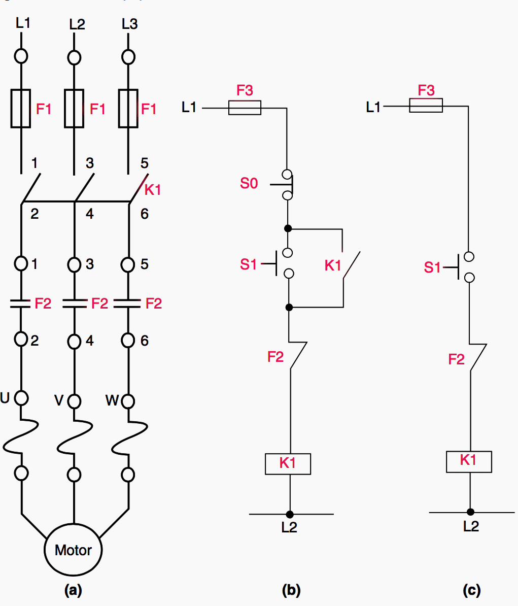 Basic control circuit for DOL (direct-on-line) starter
