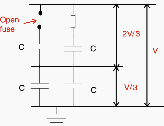 Open fuse and voltage distribution in a series group
