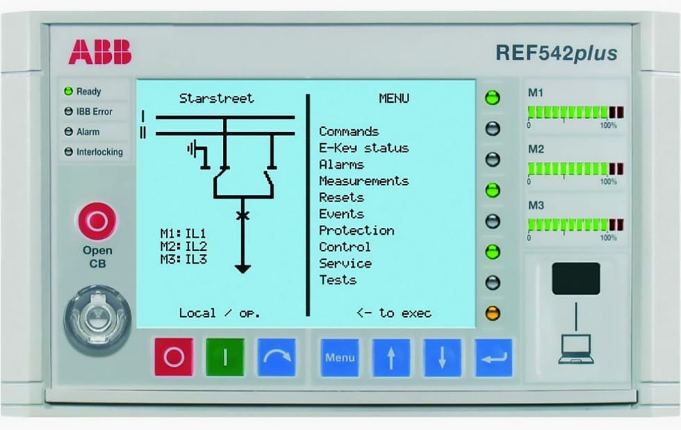LCD display of ABB's protection relay REF 542plus HMI