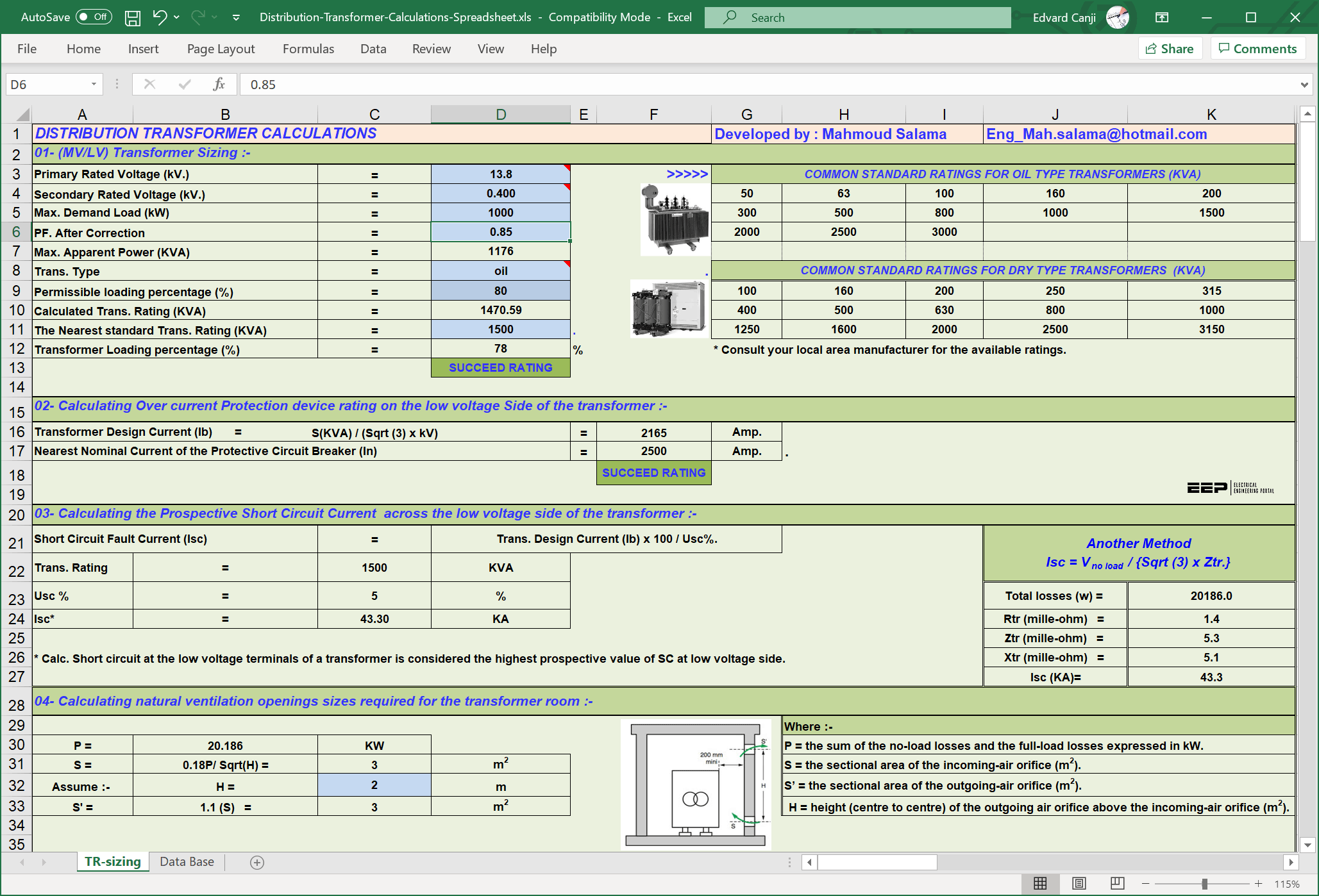 Distribution transformer calculations - MS Excel Spreadsheet